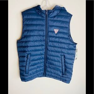 GUESS Puffer Vest Hood Zip Navy Blue Men's Large